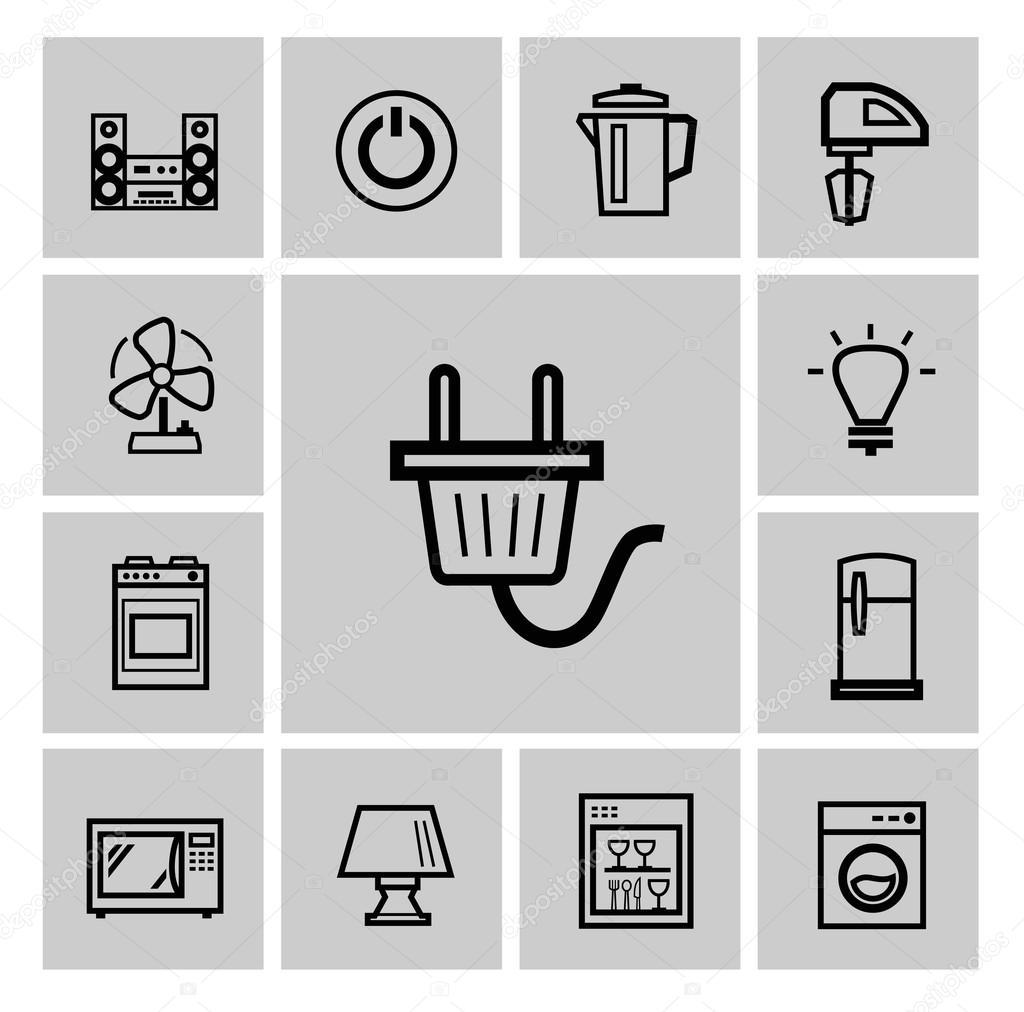 Icon set de Vector noir électroménager — Image vectorielle