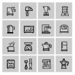Vector black household icon set — Stock Vector