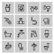 Vector black bathroom icons set — Stock Vector