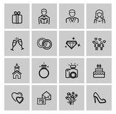 Vector black wedding icons set — Stock Vector