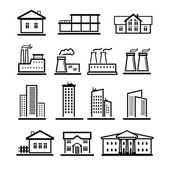 Vector black buildings and factories icons set — Stock Vector