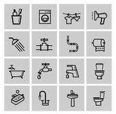 Vector black bathroom icons set — Stock Vector