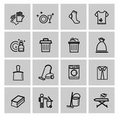 Vector black cleaning icons set — Stock Vector