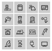 Vector black home appliances icons set — Stock Vector
