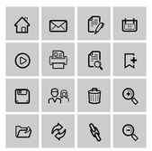 Vector black web icons set on gray — Stock Vector