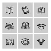 矢量黑书图标集 — 图库矢量图片