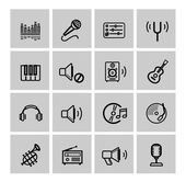 Vector black music icons set — Stock Vector