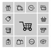 Vector black shopping icons — Stock Vector