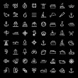 Vector black boat and ship icons set — Stock Vector #42468001