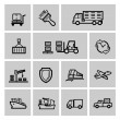 logística e transporte icon set vector preto — Vetorial Stock