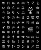 Vector black movie icon set — Stock Vector
