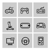Vektor-Videospiel und Joystick-Symbole-set — Stockvektor