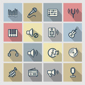 Vector music icons set — ストックベクタ