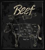 Vetorial mão desenhada carne — Vetor de Stock