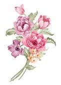 Watercolor illustration flower in simple white background — Stock fotografie