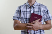 Christian Teenager Holding a Bible — Stock Photo
