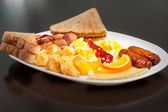 Scrambled Eggs and Sausage — Stock Photo