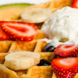 Stock Photo: Waffle,Ice Cream, and Fruits