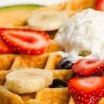 Waffle,Ice Cream, and Fruits — Stock Photo