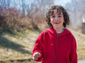 Hispanic Child Walking in a Park at the End of the Winter — Stock Photo