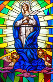 Stained Glass in a Catholic Church — Foto Stock