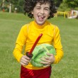 Hispanic Child Playing Outdoors — Stock Photo