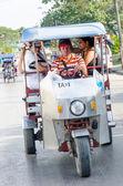 Taxi Motorbike Transporting Passengers — Stock Photo