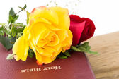 Roses,Wood and the Word of God — Stock Photo