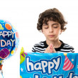 Boy praying during his birthday. Thanking God for another year of life — Stock Photo