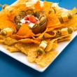 Traditional Nachos with Olives and Jalapenos — Stok Fotoğraf #34460247