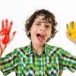 Stock Photo: Mocker child with hands paint smear