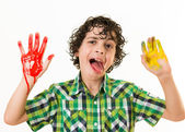 Mocker child with hands paint smear — Stock Photo