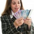 Businesswoman making money — Stock Photo
