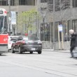 Downtown Toronto, old Bombardier Streetcars — Stock Video