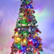 Christmas Tree with Lights On — Stock Photo