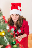 Christmas Scene with Woman — Stockfoto