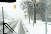 Harsh Winter from Inside a Bus — Stock Photo