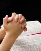 Hands of a Child Clasped in Prayer — Stock Photo
