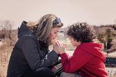 Small Family Praying Outdoors — Stock Photo