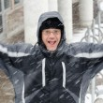 Man jumping and enjoying the winter — Stock Photo #40413869
