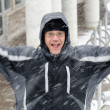 Stock Photo: Mjumping and enjoying winter