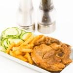 Постер, плакат: Cuban cuisine: Pork Chops cucumber salad and french fries