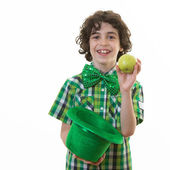 Child in St. Patrick Celebrations over white background — Stok fotoğraf