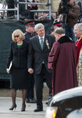 Stephen and Laureen Harper outside St. James Cathedral — 图库照片