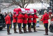 RCMP handles Jim Flaherty's casket inside the church — Stock Photo
