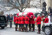 RCMP handles Jim Flaherty's casket inside the church — Stock Photo