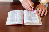 Bible study by a man of God or Pastor — Stock Photo