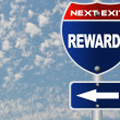 Stock Photo: Rewards road sign