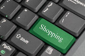 Shopping on keyboard — Stock Photo
