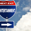 Stock Photo: Entertainment road sign